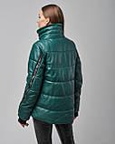 Женская теплая кожаная куртка зеленая с мехом шиншилы. Турция, фото 5