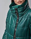 Женская теплая кожаная куртка зеленая с мехом шиншилы. Турция, фото 4