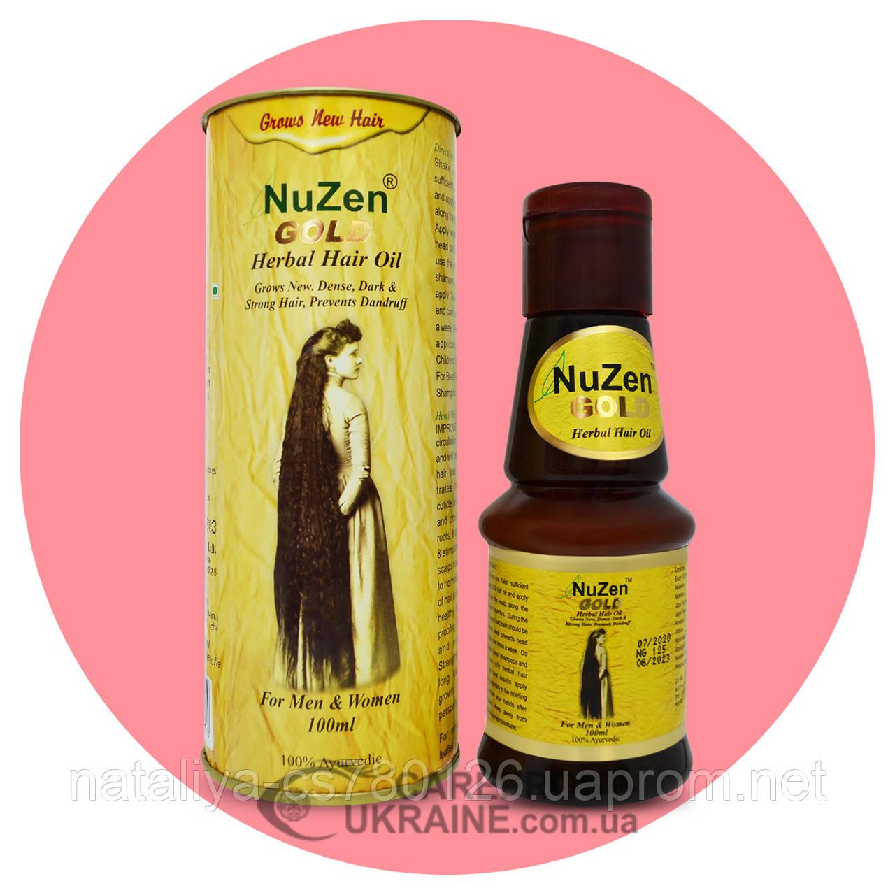 Нузен Голд (Nuzen Gold), масло для роста и укрепления волос, 100 мл
