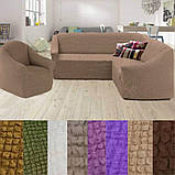 Натяжные чехлы на угловой диван и кресло турецкие без оборки жатка Коричневый Разные цвета, фото 6
