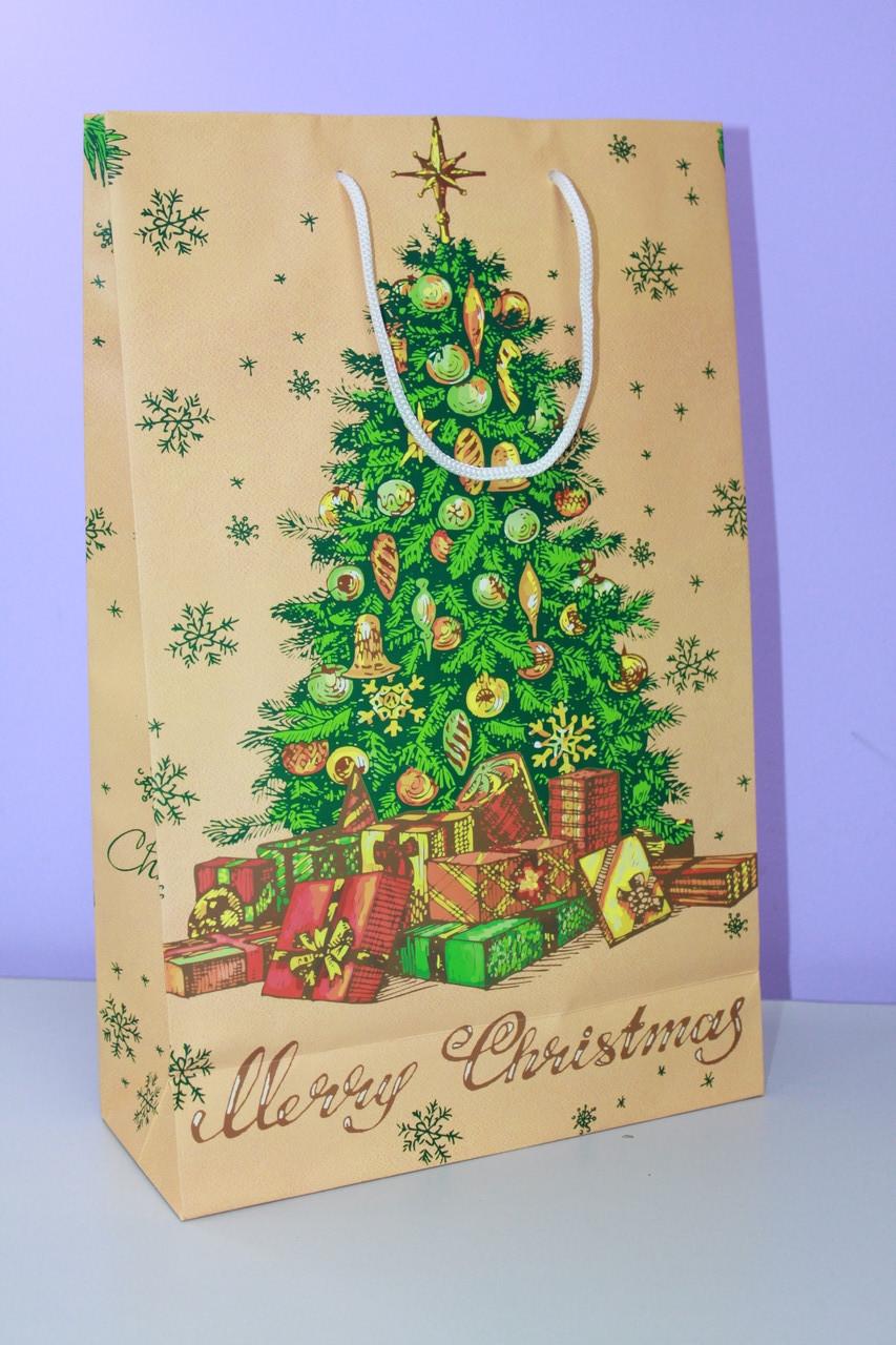 Бумажный пакет с рисунком елочка новогодняя