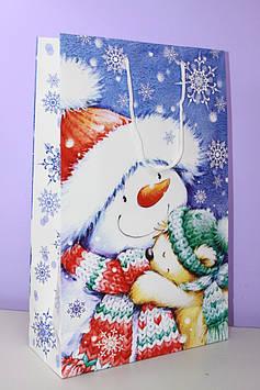 Новогодний подарочный пакет бумажный с рисунком снеговик