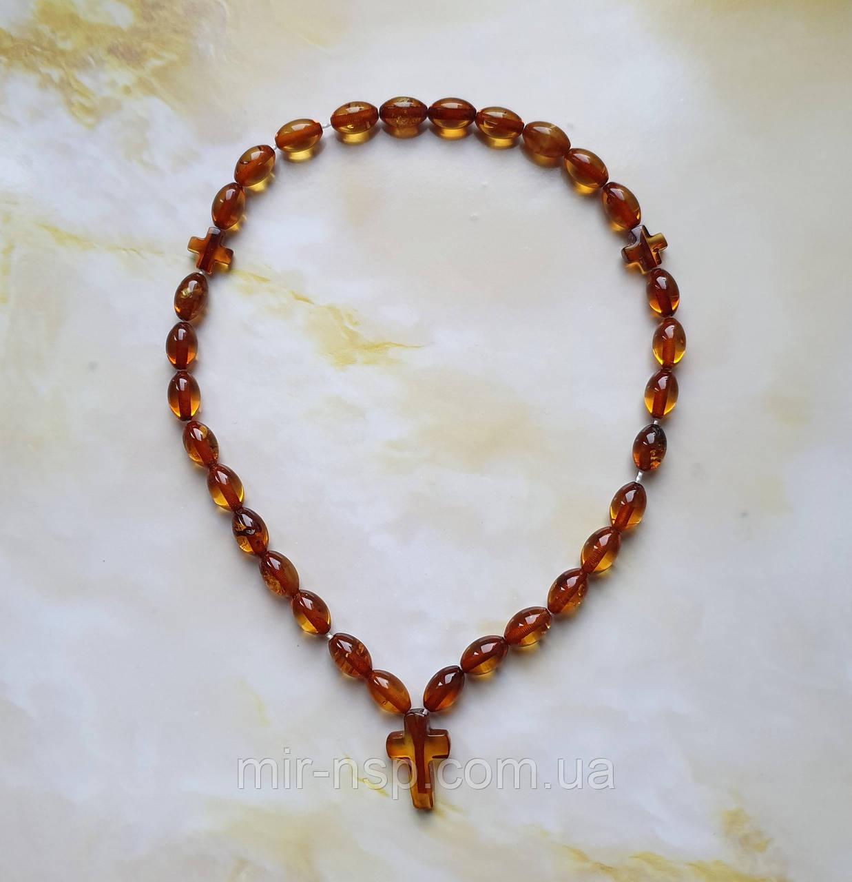 Четки православные с крестом 100% натуральный янтарь (не пресс, не плавка) 30 бусин 10*7 мм вес 10г