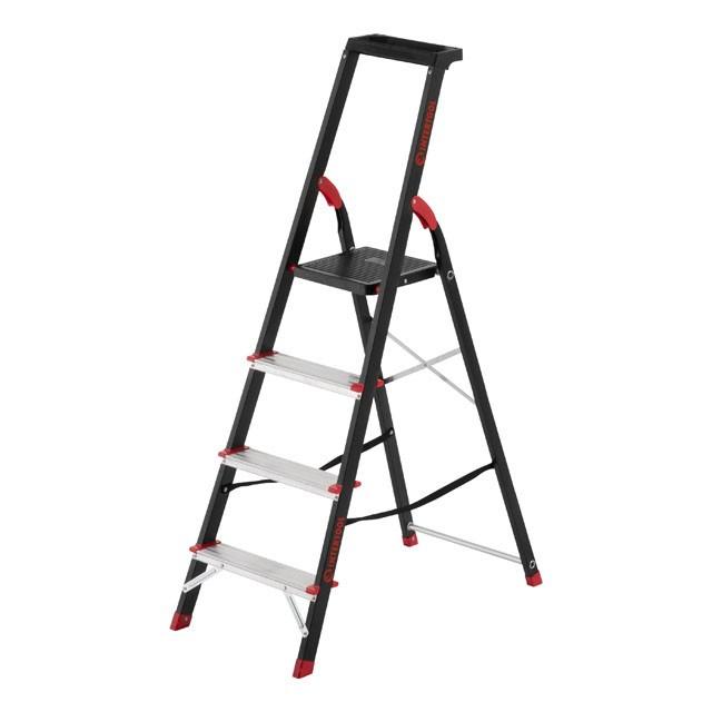 Стремянка 4 ступени, лоток для инвентаря, стальной профиль, высота верхней ступени 850мм, 433х821х1350мм,