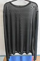 Блуза-сетка черная  батальная под пиджак или сарафан Aj-Sel
