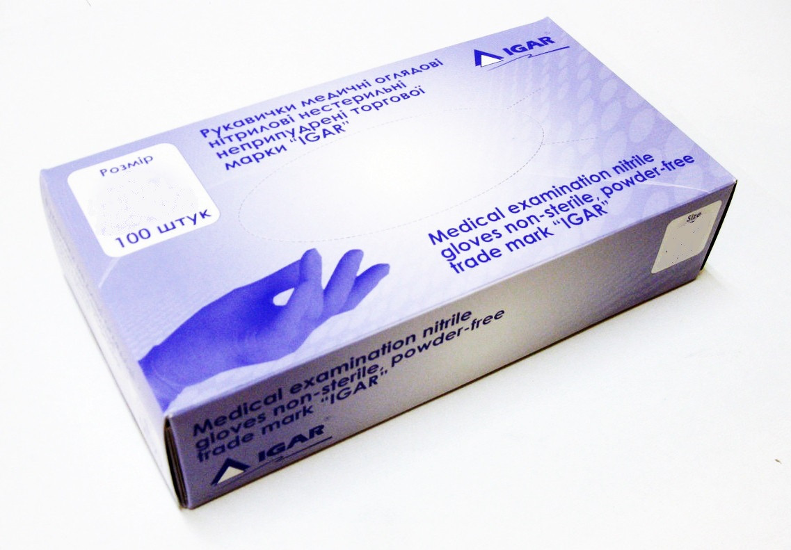 Перчатки нитриловые неопудренные IGAR рМ, 200 шт