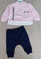 Костюм на девочку, Bebygo, 6-12-18 мес, двунить, Yousosweet, розовый