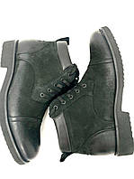 Мужские зимние ботинки кожаные нубук натуральный мех черные на шнуровке