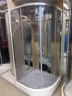 Душова кабіна напівкругла Liveno KAMA з піддоном в комплекті, скло графітове, 90 см