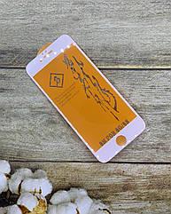 Защитное стекло на iPhone 6s захисне скло Premium качество (белая рамка)