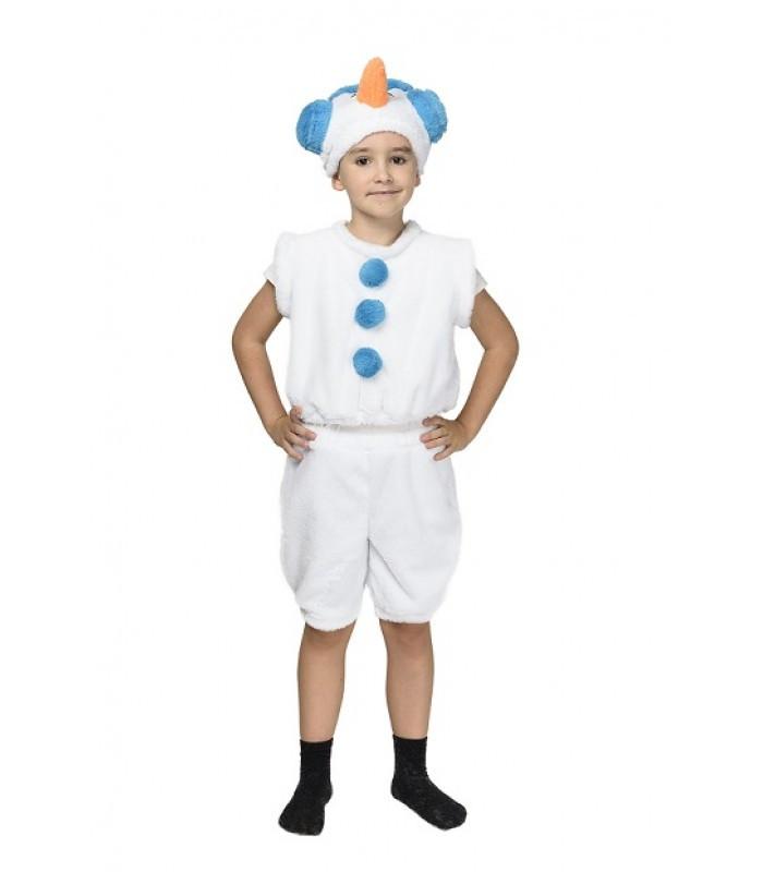 Карнавальный костюм СНЕГОВИК, СНЕГОВИЧОК на 3-7 лет (104-122 см), детский новогодний костюм Снеговика