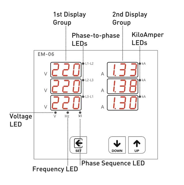 Мультиметр EM-100D (анализатор параметров сети) с 6 дисплеями для одновременной индикации тока и напряжения по трем фазам в комплекте с 3-мя трансформаторами тока на 100 A.