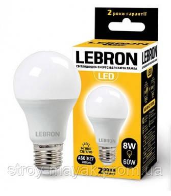 Светодиодная LED лампа LEBRON L-A60, 8W, Е27 мягкий свет