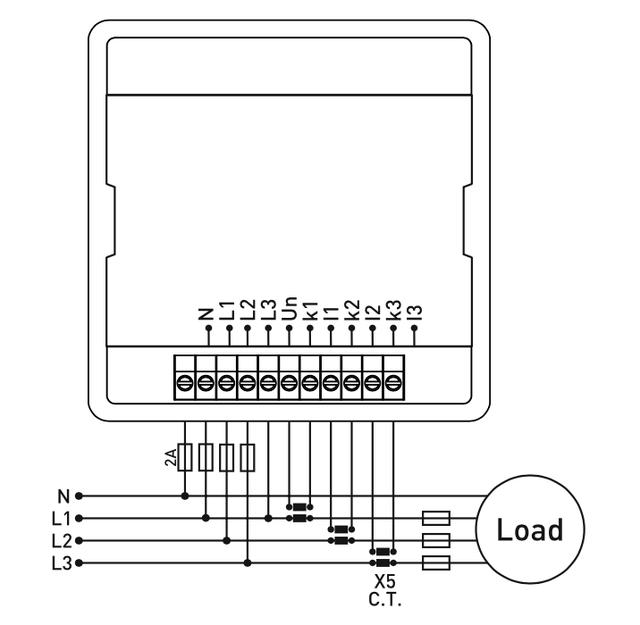Схема подключения Мультиметр EM-100D (анализатор параметров сети) с 6 дисплеями для одновременной индикации тока и напряжения по трем фазам в комплекте с 3-мя трансформаторами тока на 100 A.