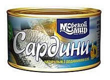 """Рибна консерва сардина з додаванням олії """"Морской мир"""" 240г натуральна"""