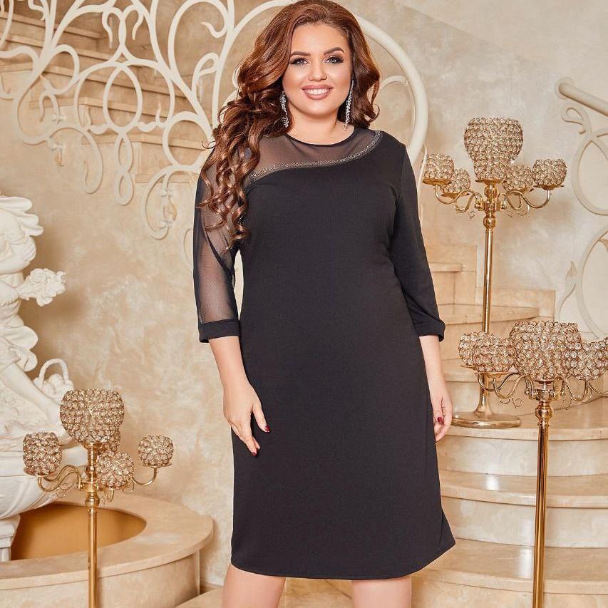 Вечернее чёрное платье с сеткой