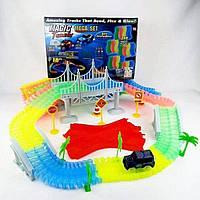 Детский светящийся гибкий трек Magic Tracks, 360 деталей, гоночный трек, игрушка мальчику