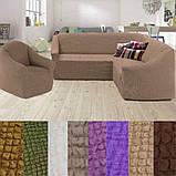 Натяжные чехлы на угловой диван и кресло турецкие без оборки жатка Бордовый Разные цвета, фото 5