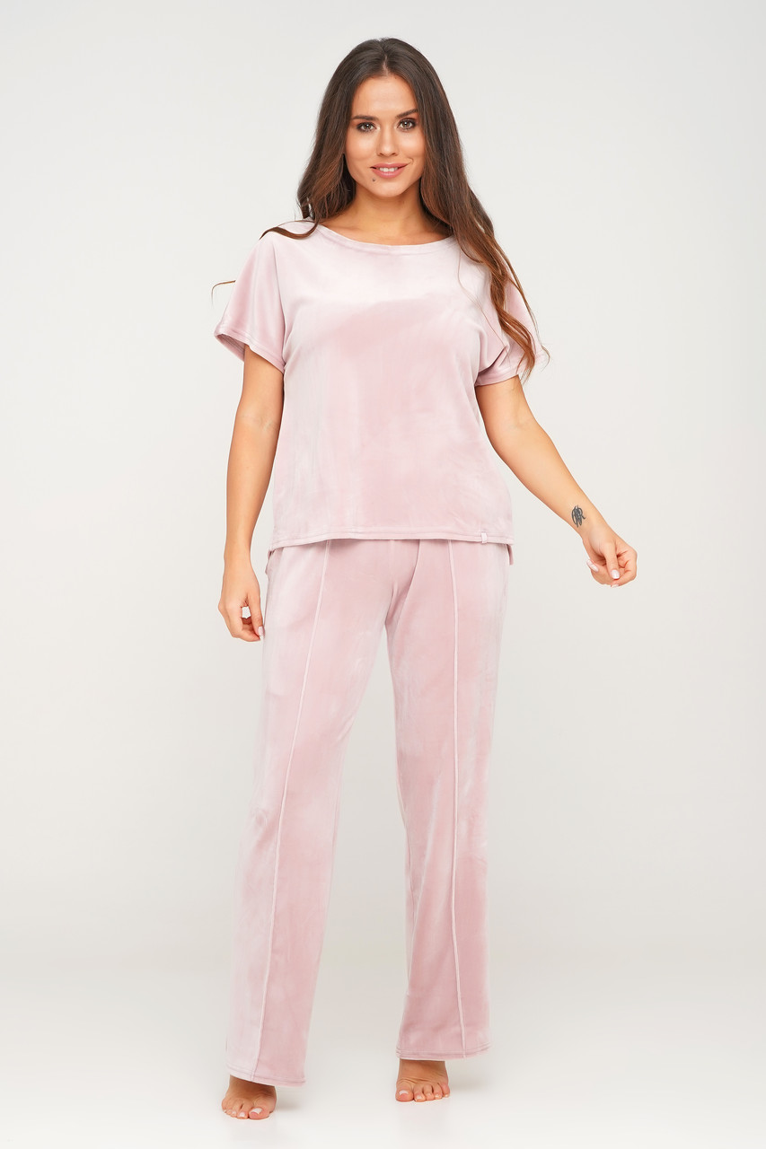 Розовый плюшевый костюм штаны и футболка  Orli