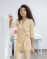 Медицинский женский костюм Шанхай бежевый из стрейч-коттона