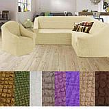 Турецкий чехол на угловой диван и кресло накидка натяжной без оборки жатка Капучино, фото 3