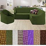 Турецкий чехол на угловой диван и кресло накидка натяжной без оборки жатка Капучино, фото 4