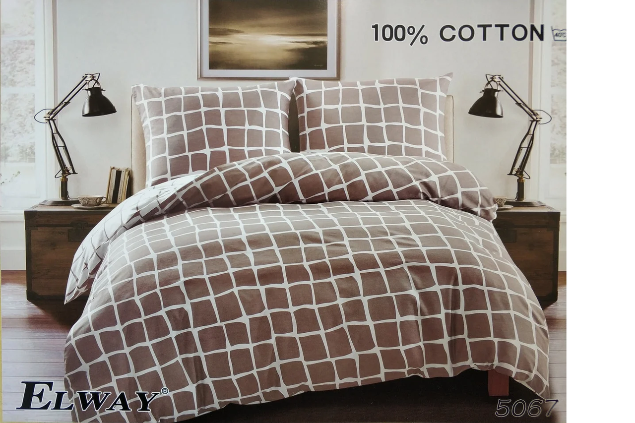 Сатиновое постельное белье евро  ELWAY 5067