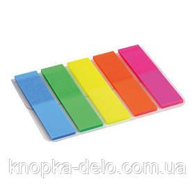 Закладки пластиковые с клейким слоем, прямоугольные, 5х12х50 мм, 125 шт. Ассорти неоновых цветов