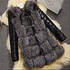 Женская шуба с кожаными рукавами. (01205)