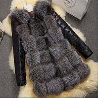 Женская меховая жилетка с кожаными рукавами. (01205)