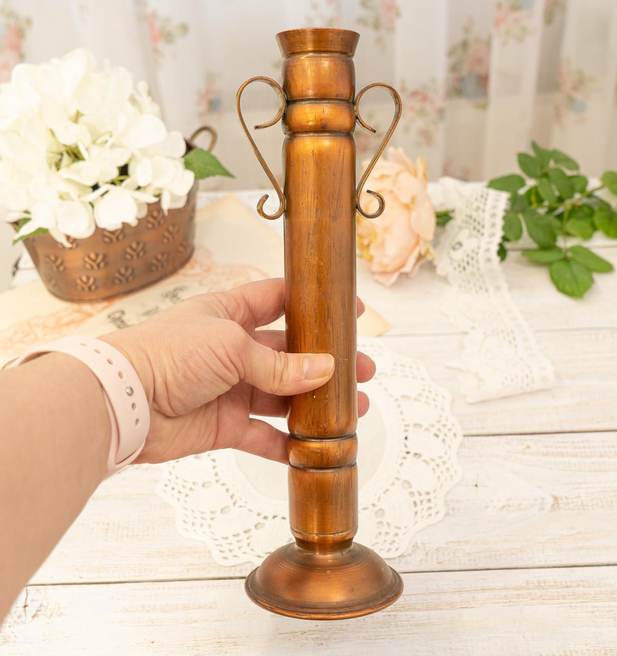Оригінальна мідна ваза з ручками, мідний посуд, мідь Німеччина, 27 см