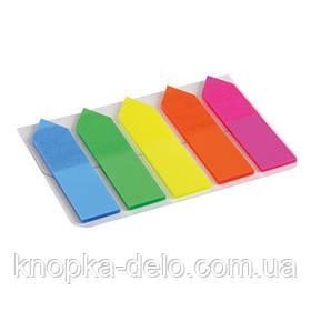 Закладки пластиковые с клейким слоем, стрелки, 5х12х50 мм, 125 шт. Ассорти неоновых цветов.2440-02-А
