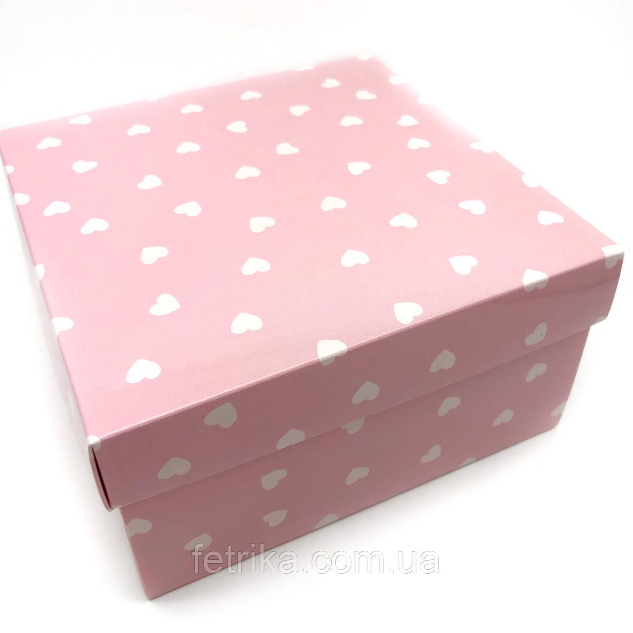 Коробка подарочная розовая глянцевая, 140*140*70 мм