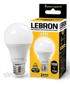 Светодиодная LED лампа LEBRON L-A60, 10W, Е27 мягкий свет