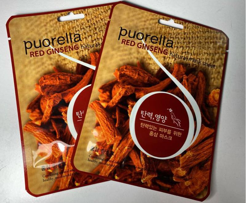 Тканевая маска для лица с женьшенем Puorella Red Ginseng Mask Sheet