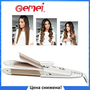 Плойка-утюжок для волос Gemei GM-2961 2 в 1 - Мультистайлер с гофре для укладки волос