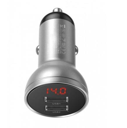 Автомобильное зарядное устройство Baseus Digital Display Dual USB 4.8A Car Charger 24W Silver