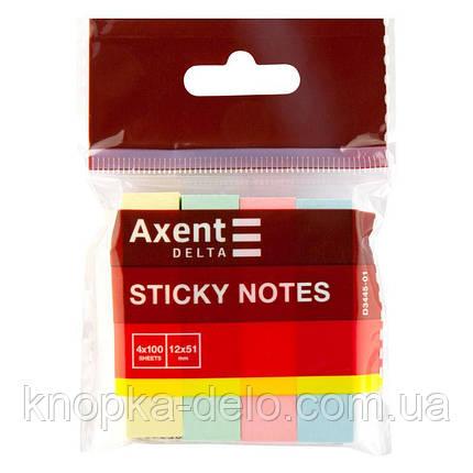 Закладки бумажные с клейким слоем, прямоугольные, 4 цвета, 12х51 мм, 400 шт.  пастельных цветов.D3445-01, фото 2