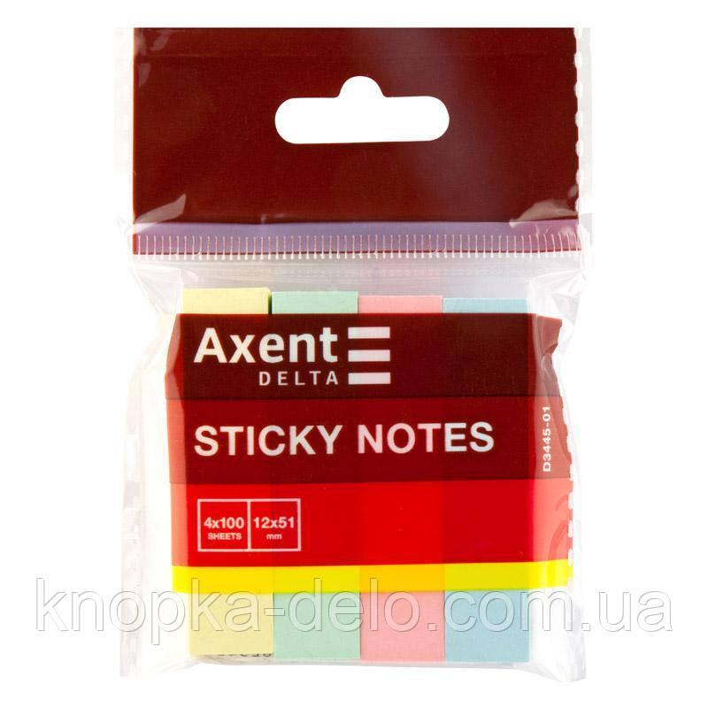 Закладки бумажные с клейким слоем, прямоугольные, 4 цвета, 12х51 мм, 400 шт.  пастельных цветов.D3445-01