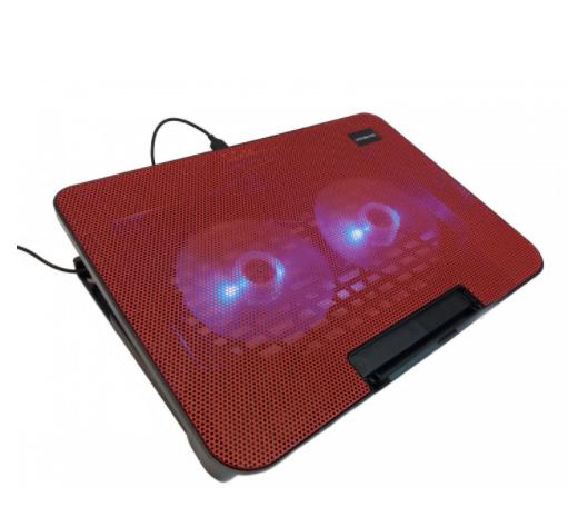 Подставка охлаждающая для ноутбука 2 вентилятора, диагональ 9-17 дюймов красный N99