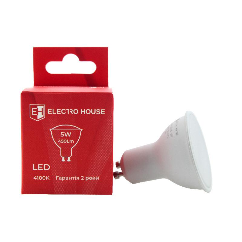 ElectroHouse LED лампа GU10/4100K/5W 450Lm/110°  (для точечных светильников)