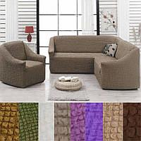 Натяжные чехлы на угловой диван и кресло без оборки универсальный Серо коричневый Разные цвета Турция