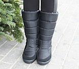 Дутики женские зимние теплые EXCLUSIVE черные высокие. Живое фото, фото 4