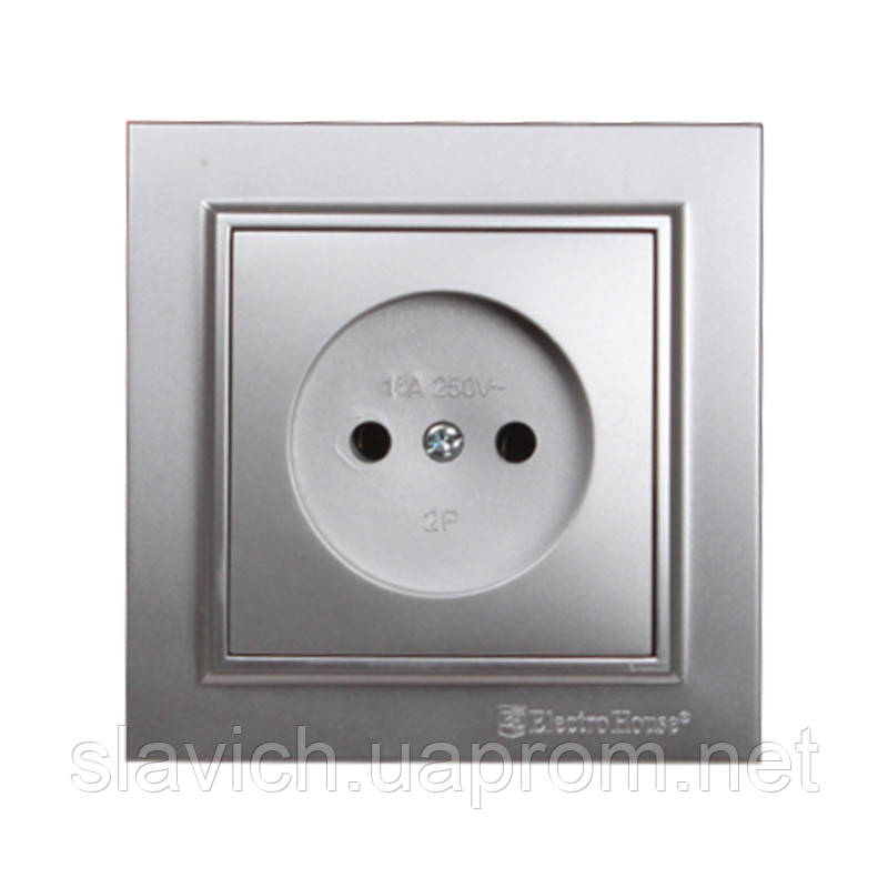 ElectroHouse Розетка без заземления Серебряный камень Enzo 16A IP22