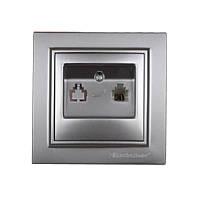 ElectroHouse Розетка телефонная Серебряный камень Enzo IP22