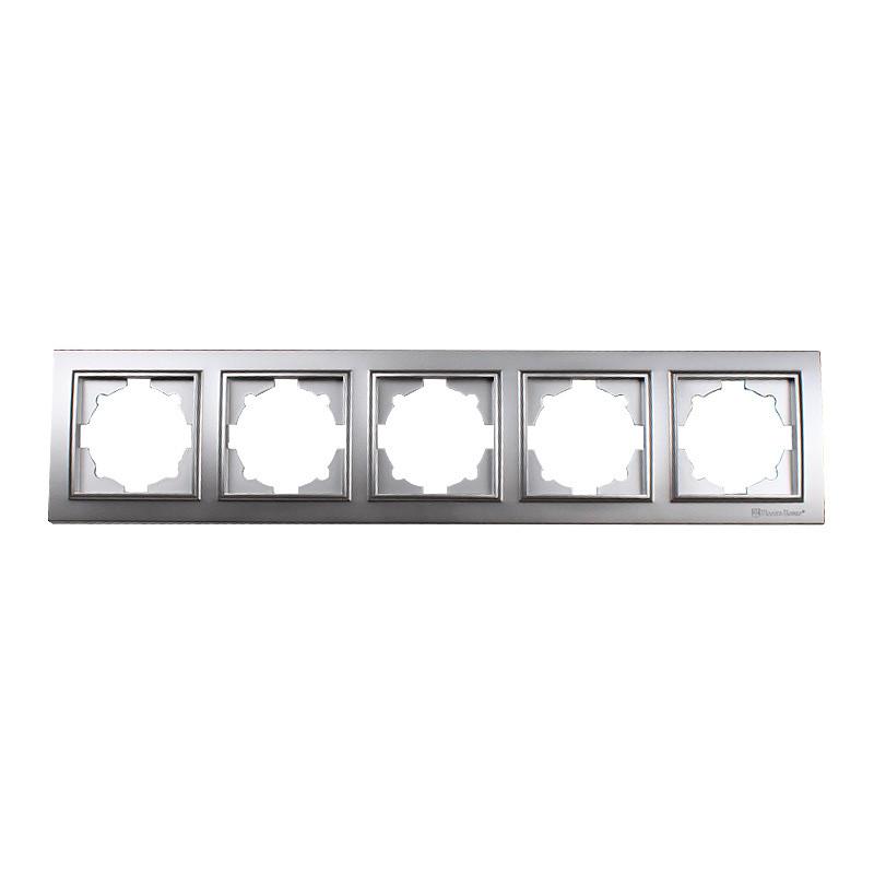 ElectroHouse Рамка пятиместная серебро Enzo