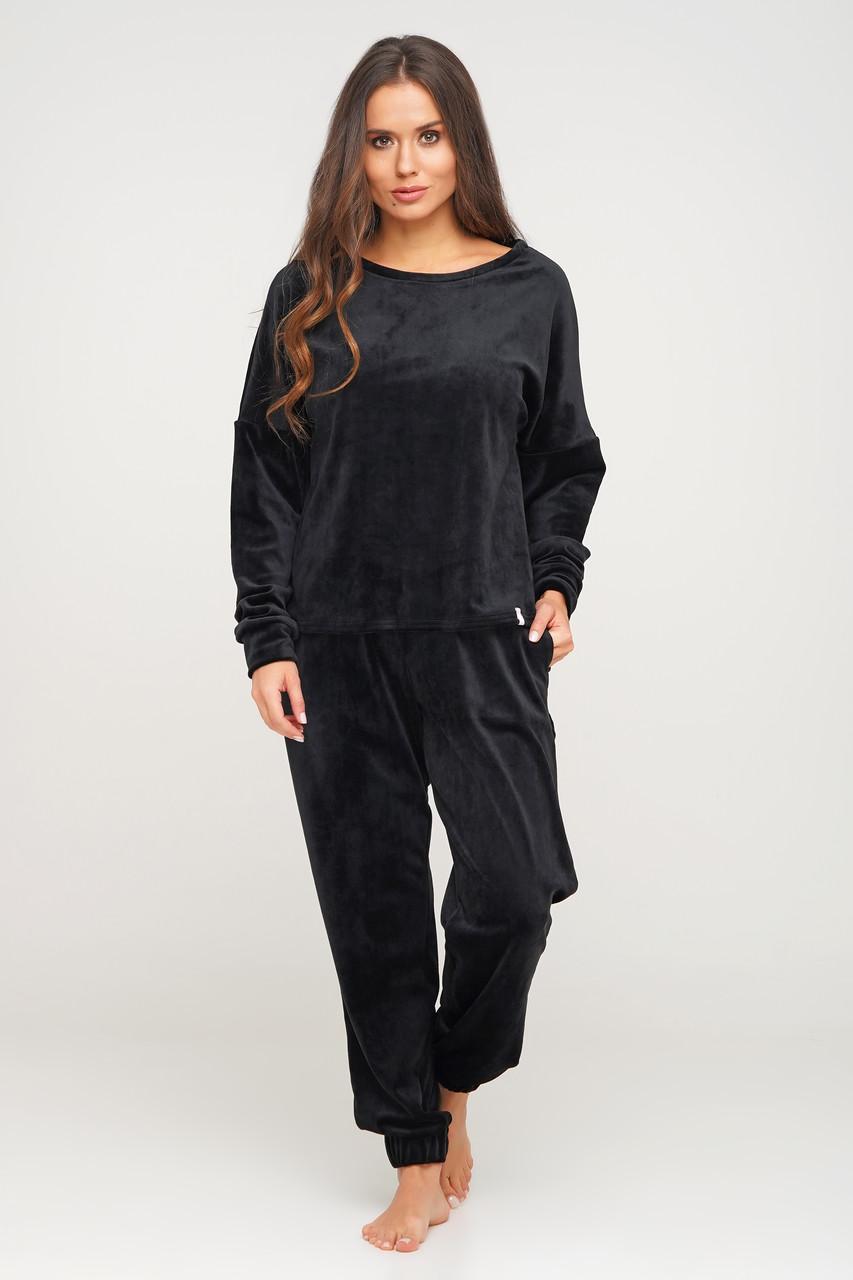 Чорний велюровий костюм штани і кофта Orli