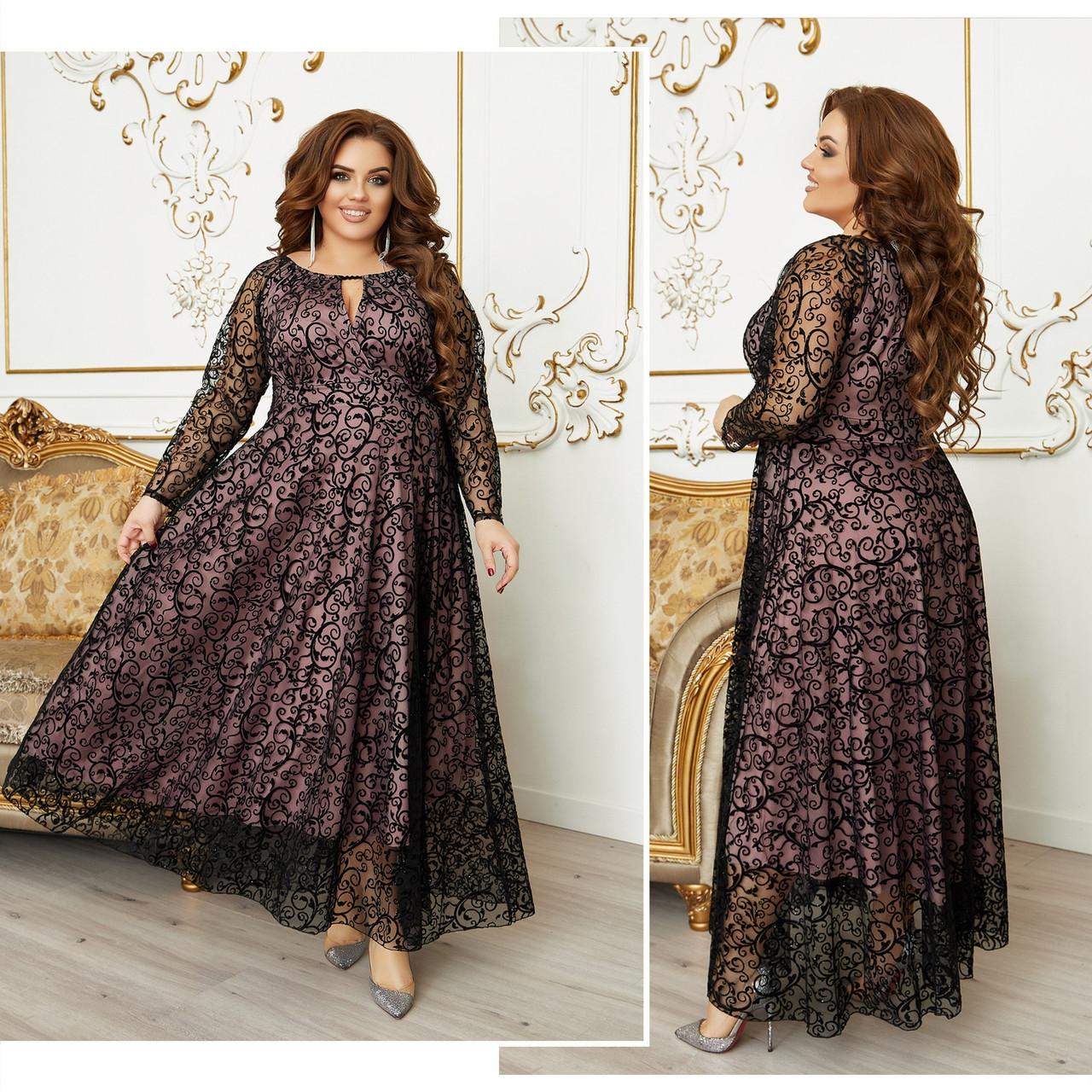 Платье  БАТАЛ в пол нарядное в расцветках 984000