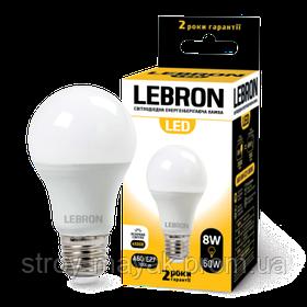 Светодиодная LED лампа LEBRON L-A60, 8W, Е27 яркий свет