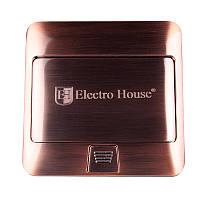 ElectroHouse Розетка врезная для пола с заземлением 1х16A, 2хUSB 2,1A IP44, фото 1